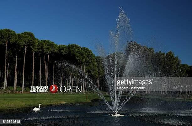 A view of the lake around the 18th hole during a practise day for the Turkish Airlines Open at the Regnum Carya Golf Spa Resort on November 1 2016 in...