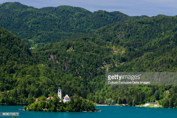 View of the lake Bled and the Assumption of Mary Pilgrimage Church, Slovenia