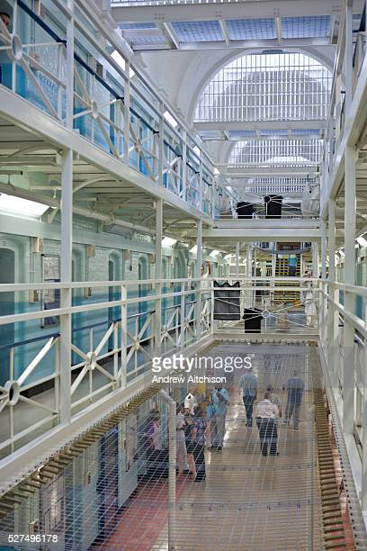 A view of the landings of E wing inside HMP Wandsworth London United Kingdom The prison install netting between floors to prevent inmates from...