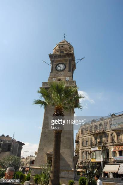 A view of the landmark clock tower in Aleppo which was built by the French between 18981899 Syria October 2009
