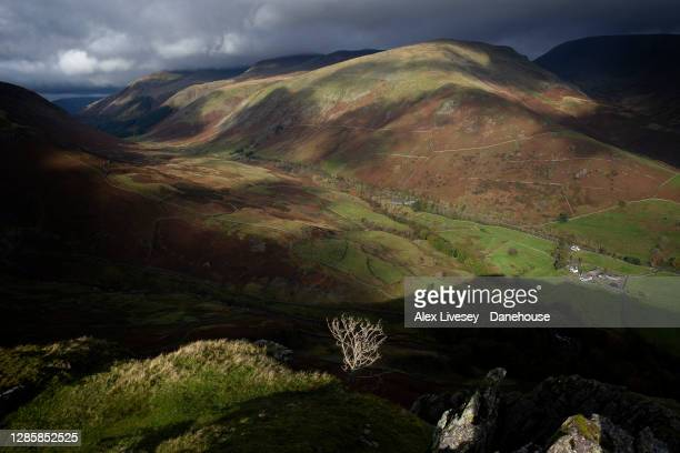 View of the landscape around Grasmere is seen from Helm Crag, or the Lion and Lamb on October 10, 2020 in Grasmere, England.