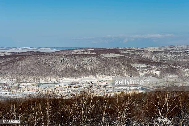View of the landscape from the observation deck of the Abashiri Okhotsk Ryuhyo Museum on Mount Tento in Abashiri a city on Hokkaido Island Japan