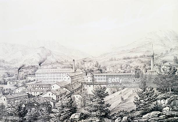View of the Lanerossi textile plant in Schio engraving by Carlo Matscheg Italy 20th century Schio Archivio Lanerossi
