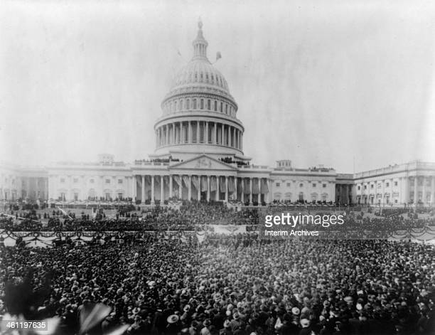 View of the large crowd gathered at the United States Capitol to witness President Woodrow Wilson's second inauguration Washington DC March 5 1917