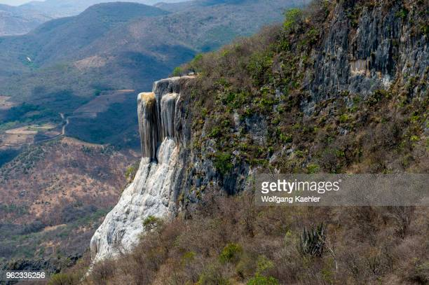 View of the large waterfall at Hierve el Agua which is a deposit of calcium carbonate and other minerals near Oaxaca southern Mexico