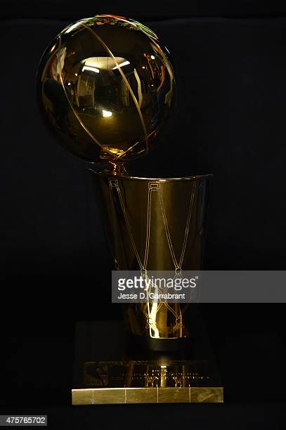 A view of the Larry O'Brien Championship trophy during media availability as part of the 2015 NBA Finals on June 3 2015 at Oracle Arena in Oakland...