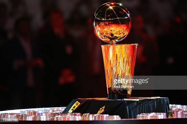 View of the Larry O'Brien Championship Trophy during the ring ceremony honoring the Miami Heat for winning the 2006 NBA Championship prior to the...