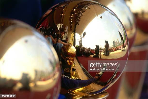 A view of the Larry O'Brien NBA Championship Trophy during the 1998 Chicago Bulls Celebration Rally on June 16 1998 at Grant Park in Chicago Illinois...