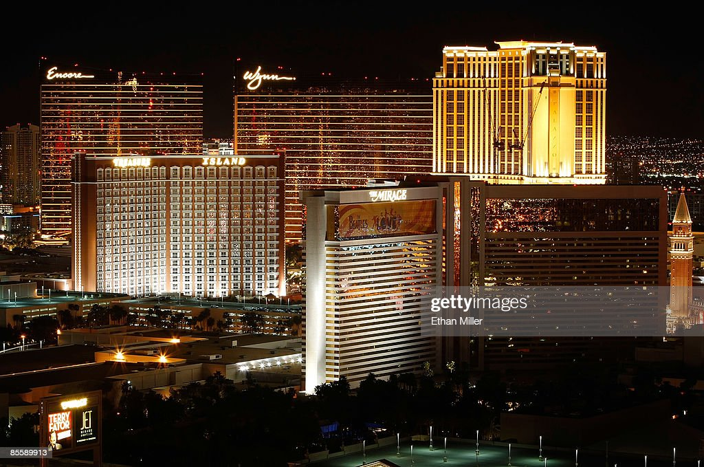 A view of the Las Vegas Strip, including the Encore Las Vegas, Wynn Las Vegas, Treasure Island Hotel & Casino and Mirage Hotel & Casino, seen from the Voodoo Lounge at the Rio Hotel & Casino March 24, 2009 in Las Vegas, Nevada.