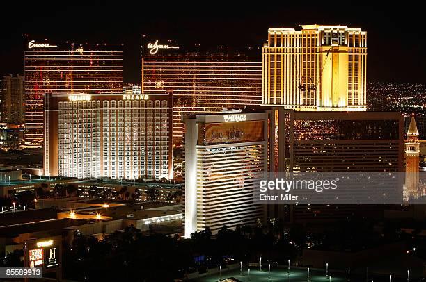 View of the Las Vegas Strip, including Encore Las Vegas, Wynn Las Vegas, Treasure Island Hotel & Casino and The Mirage Hotel & Casino, seen from the...
