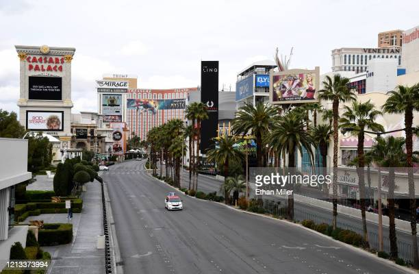 View of the Las Vegas Strip near Caesars Palace shows light vehicle and pedestrian traffic as the coronavirus continues to spread across the United...
