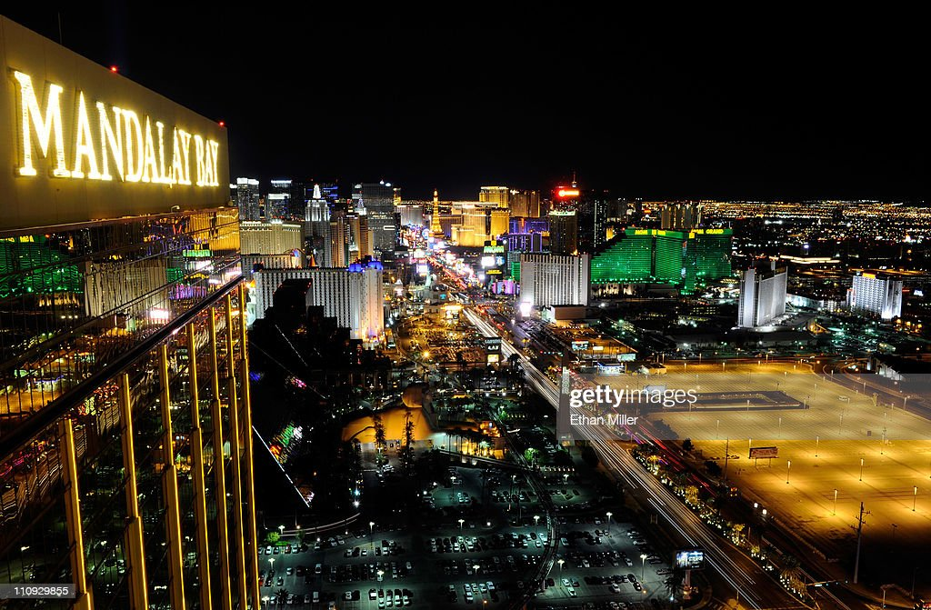 A view of the Las Vegas Strip seen before Earth Hour from the House of Blues Foundation Room inside the Mandalay Bay Resort & Casino March 26, 2011 in Las Vegas, Nevada. Hotel-casinos in Las Vegas turned off marquees and non-essential exterior lighting to participate in Earth Hour, a global initiative by the World Wildlife Fund to focus attention on the threat of climate change.
