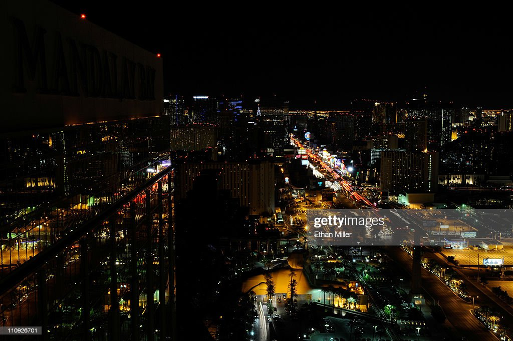 A view of the Las Vegas Strip seen during Earth Hour from the House of Blues Foundation Room inside the Mandalay Bay Resort & Casino March 26, 2011 in Las Vegas, Nevada. Hotel-casinos in Las Vegas turned off marquees and non-essential exterior lighting to participate in Earth Hour, a global initiative by the World Wildlife Fund to focus attention on the threat of climate change.