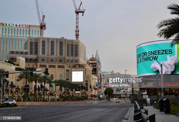 A view of the Las Vegas Strip with few cars and people during the stay home order from The Nevada Governor April 2 2020 in Las Vegas Nevada