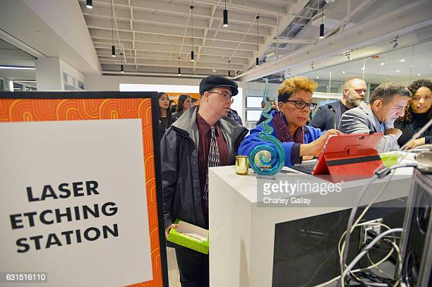 A view of the laser etching station during Nickelodeon's celebration of the new Burbank facility on January 11 2017 in Los Angeles California