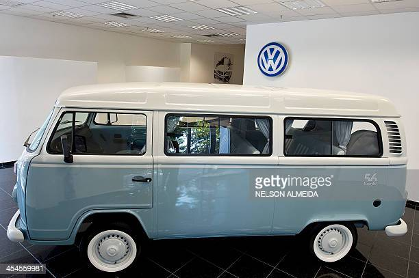 View of the last edition of the Kombi car of German carmaker Volkswagen exhibited at the company's plant in Sao Bernardo do Campo southern of Sao...