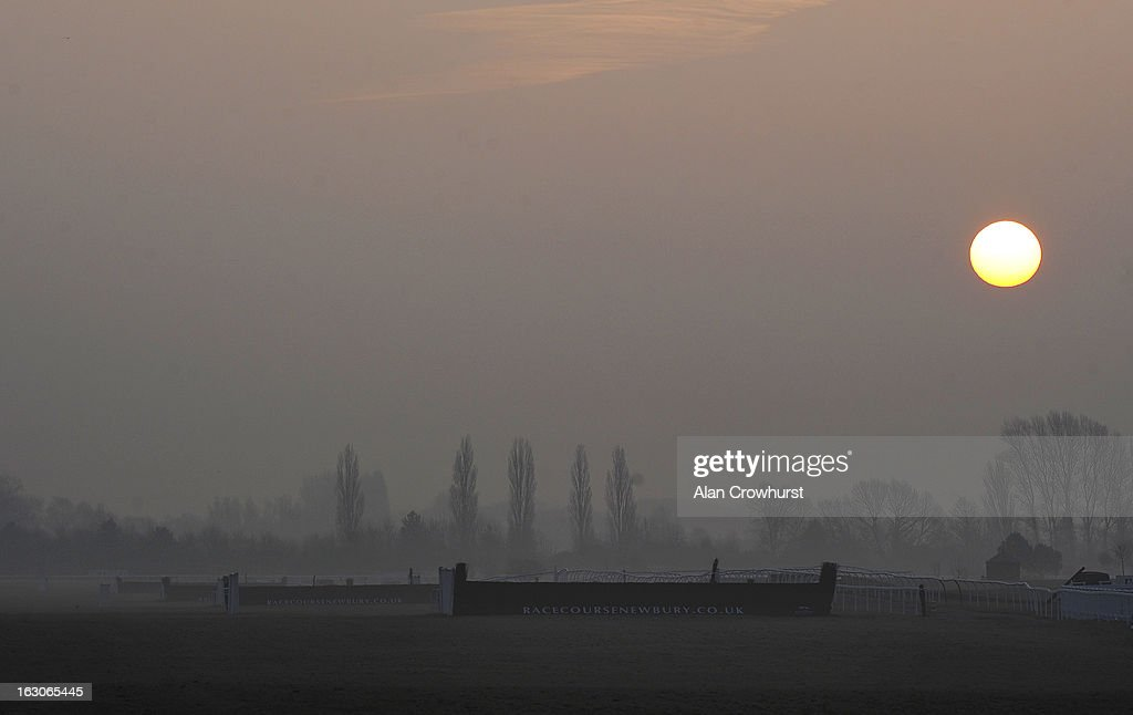 A view of the last fence as the course was found to be a little frosty and unable to be galloped on at Newbury racecourse on March 04, 2013 in Newbury, England.