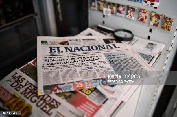 View of the last printed edition of Venezuelan newspaper El Nacional with its front page reading El Nacional is a worrior and will keep on fighting...