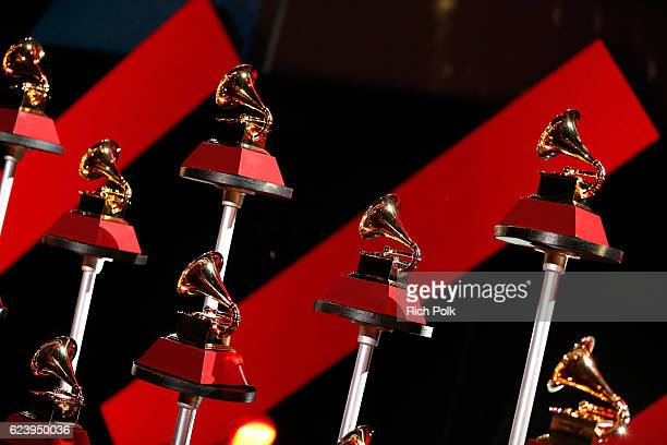 A view of the Latin Grammy award trophy onstage during The 17th Annual Latin Grammy Awards Premiere Ceremony at MGM Grand Garden Arena on November 17...