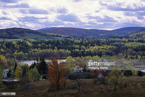 View of the Laurentian village Huberdeau in the fall in Quebec Province Canada