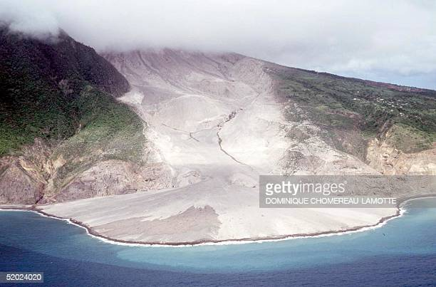 View of the lava flow after a blast from the Soufriere volcano 20 August A small number of Monserrat residents began to leave their Caribbean island...