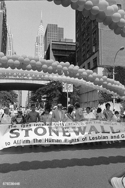 View of the lead banner of the Stonewall 1994 International March on the United Nation to Affirm the Human Rights of Lesbian and Gay People as it is...