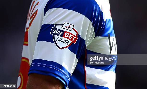 A view of the league badge on a Reading shirt during the Sky Bet Championship match between Reading and Ipswich Town at the Madejski Stadium on...
