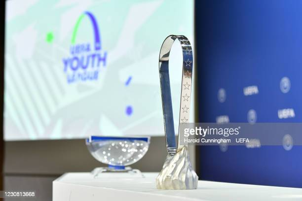 View of the Lennart Johansson trophy during the UEFA Youth League 2020/21 Round of 64 draw at the UEFA Headquarters, the House of European Football,...
