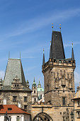 View of the Lesser Town Bridge Towers at the Mala Strana (Lesser Town) in Prague, Czech Republic.