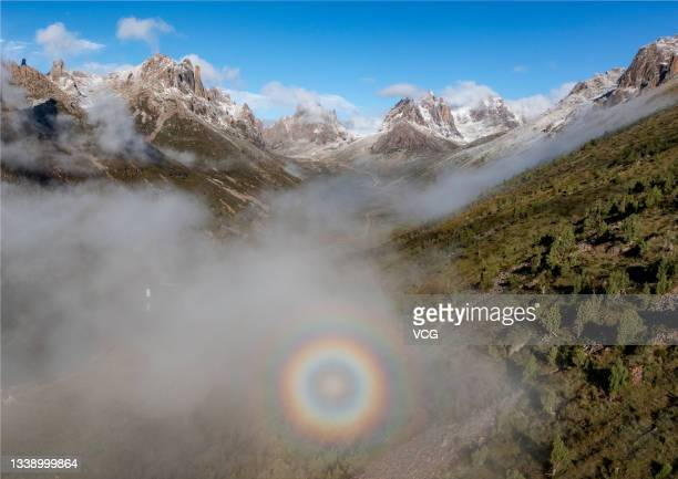 View of the Lianbaoyeze Holy Mountain Scenic Area is seen on September 7, 2021 in Aba Tibetan and Qiang Autonomous Prefecture, Sichuan Province of...