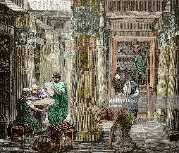 View of the library of Alexandria Egypt founded by Ptolemy II A hall in the Library of Alexandria Egypt Ancient scholars converse while reading the...