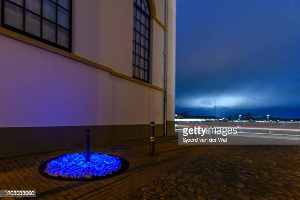 A view of the Light art installation LEVENSLICHT next to the former Synagogue on January 302020 in Kampen Netherlands The temporary memorial was...