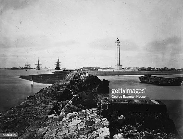 View of the lighthouse at the Egyptian city of PortSaid near the Suez Canal 1869