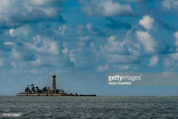 View of the lighthouse built in the southern atoll of Tubbataha reef powered by solar panels on April 26, 2018 in the North of Palawan, Philippines,...