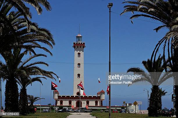 View of the lighthouse Monumental de La Serena located at Del Mar Avenue on December 11 2014 in La Serena Chile It was built between 1950 and 1951 as...