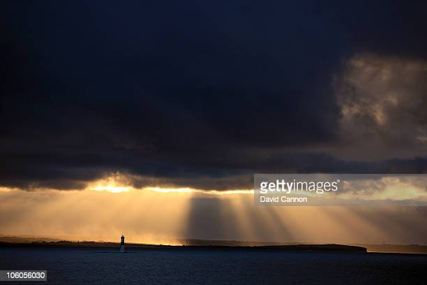 A view of the lighthouse out in the bay towards Sligo from the Championship Course at the County Sligo Golf Club at Rosses Point on October 23 2010...