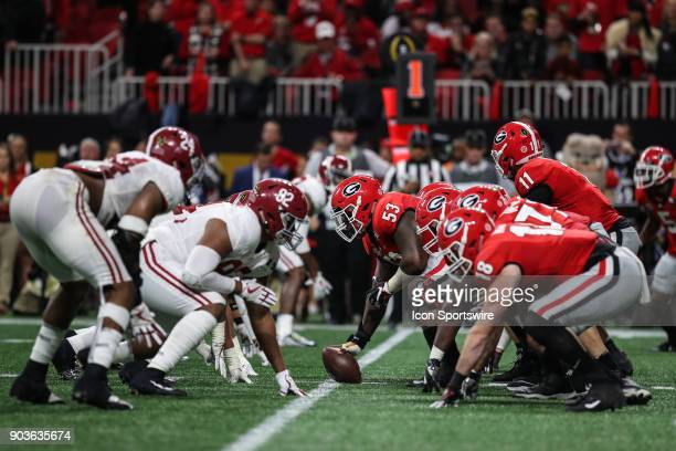 A view of the line of scrimmage before a play during the College Football Playoff National Championship Game between the Alabama Crimson Tide and the...