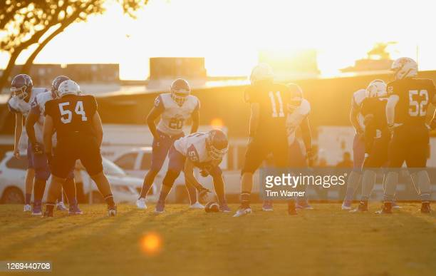 A view of the line of scrimmage in the first half of the game between the East Bernard Brahmas and the Edna Cowboys on August 28 2020 in East Bernard...