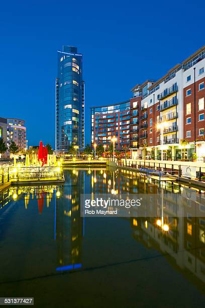 view of the lipstick tower in gunwharf, portsmouth - quayside stock pictures, royalty-free photos & images
