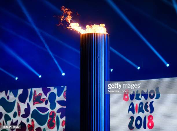 View of the lit Olympic Cauldron during the opening ceremony of the Buenos Aires 2018 Youth Olympic Games at Obelisco monument on October 06, 2018 in...