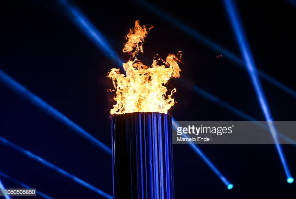 View of the lit Olympic Cauldron during the opening ...