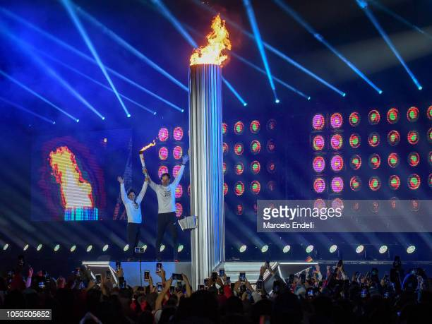 View of the lit Olympic Cauldron during the opening ceremony of the Buenos Aires 2018 Youth Olympic Games at Obelisco monument on October 06 2018 in...