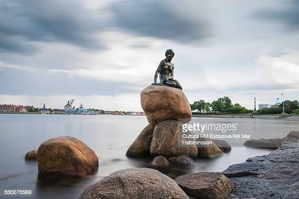 view of the little mermaid statue, copenhagen, zealand, denmark - little mermaid stock photos and pictures