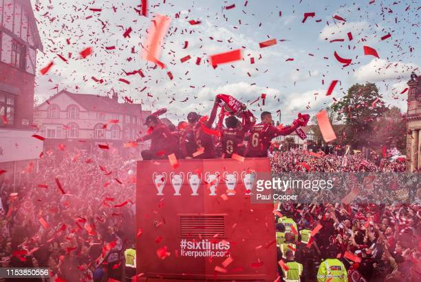 A view of the Liverpool parade bus after winning the UEFA Champions League final against Tottenham Hotspur in Madrid on June 2 2019 in Liverpool...