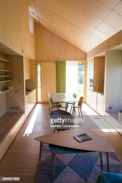 View of the living room and kitchen inside of a zeroemissions home which was built for an exhibition during the 2017 Starmus Festifval on June 22...