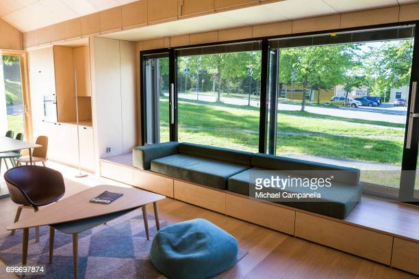 View of the living room inside of a zeroemissions home which was built for an exhibition during the 2017 Starmus Festifval on June 22 2017 in...