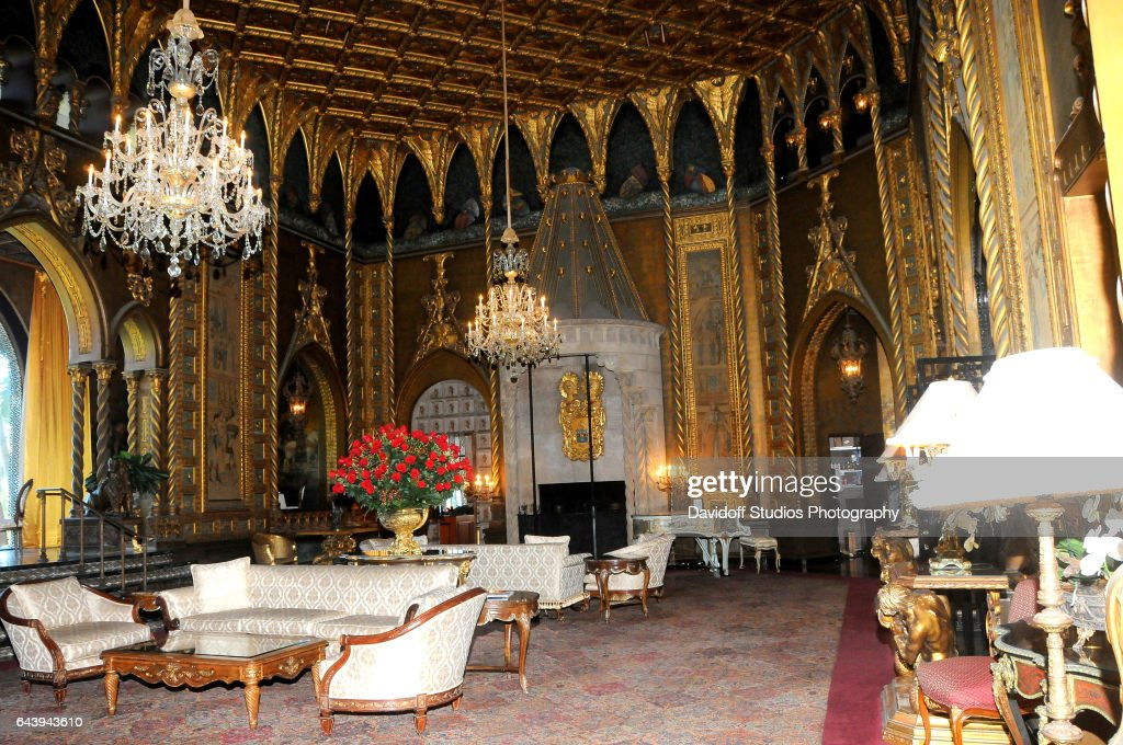 View of the living room of the mar a lago estate palm for Lago living room