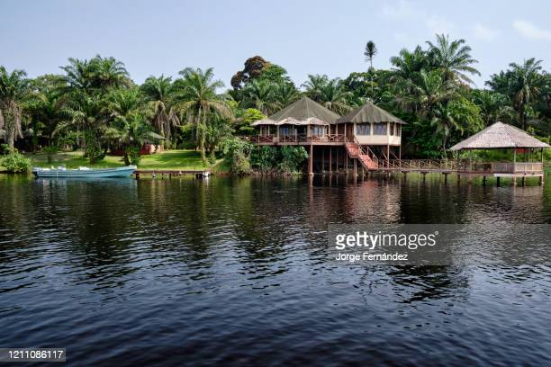 View of the Loango lodge from the Iguela lagoon.