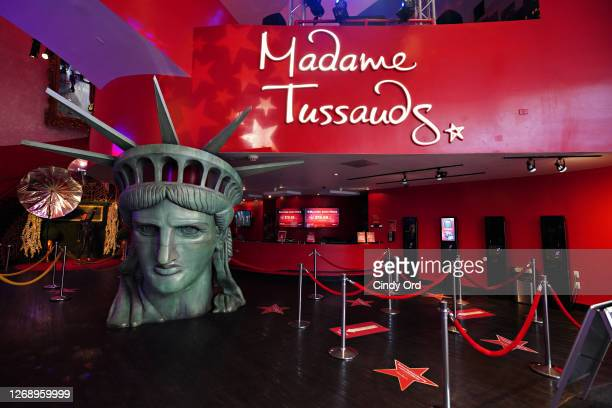 View of the lobby as Madame Tussauds New York prepares to re-open to the public during Phase 4 of re-opening following restrictions imposed to slow...