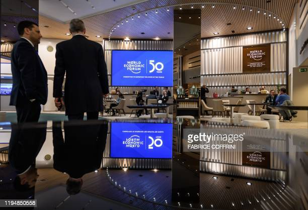 A view of the lobby inside the Congress center ahead of the annual meeting of the World Economic Forum on January 20 2020 in Davos